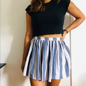 American Apparel Blue and White Striped Skirt